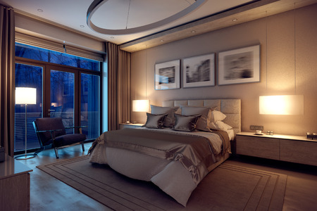 dormitory: 3D rendering evening cozy bedroom in the modern house. Huge bed with numerous pillows is dominates the room. The interior is decorated with wood and natural materials. Stock Photo