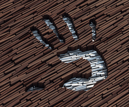 handbreadth: Silver bars imprinted on wooden boards image of a hand Stock Photo
