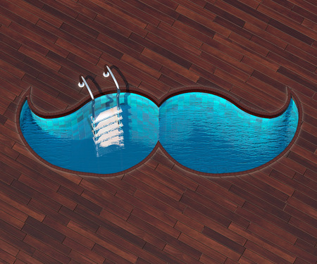 veranda: The picture combines the icon mustache and a cool pool. Swimming pool in the form of the mustache is an interesting solution for terraces outside the city. Stock Photo