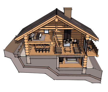 draught: If we cut a house in half we will see how zoned rooms on the floors. Kitchen, living room and hallway on the ground floor. Stock Photo
