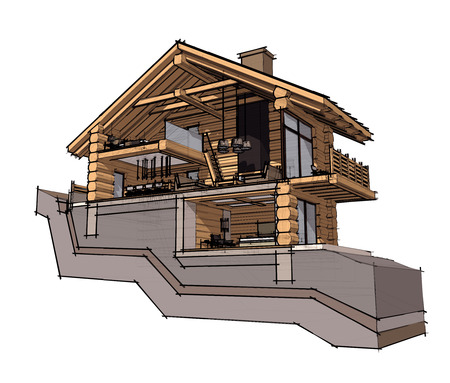 chalet: If we cut a house in half we will see how zoned rooms on the floors. Kitchen, living room and hallway on the ground floor. Stock Photo