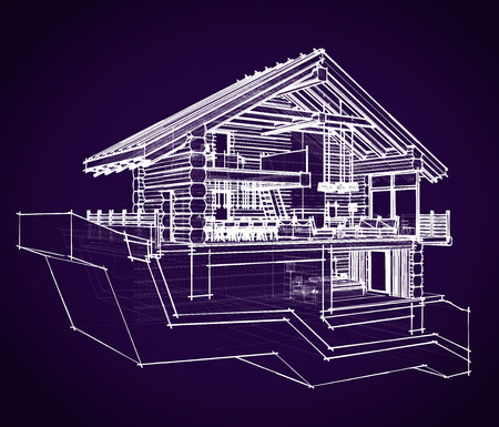 zoned: If we cut a house in half we will see how zoned rooms on the floors. Kitchen, living room and hallway on the ground floor. Stock Photo
