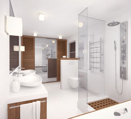 natural materials: 3D rendering of the interior of the bathroom in a contemporary style using natural materials.