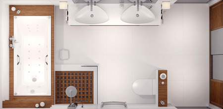 cosiness: 3D rendering of the interior of the bathroom in a contemporary style using natural materials.