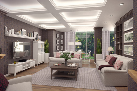 classic living room: 3D rendering of living room in classic style.The interior is decorated with wood.