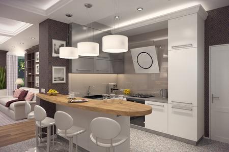 Het 3D teruggeven van keuken in moderne stijl. Het binnenland is verfraaid met hout. Stockfoto