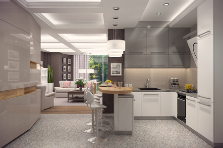 3D rendering of kitchen in modern style.The interior is decorated with wood.