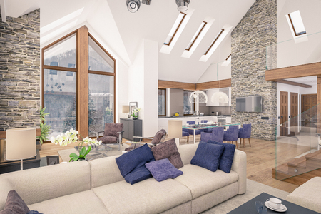 contemporary living room: 3D rendering of living room, kitchen and dining room are combined in one area of chalet. The interior is decorated with wood and natural materials.