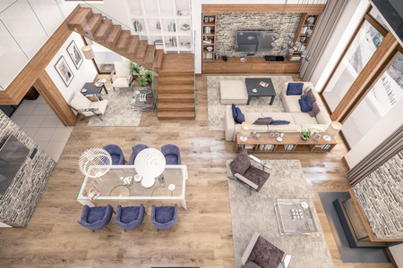 3D rendering of living room, kitchen and dining room and stair are combined in one area of chalet. The interior is decorated with wood and natural materials. Banco de Imagens