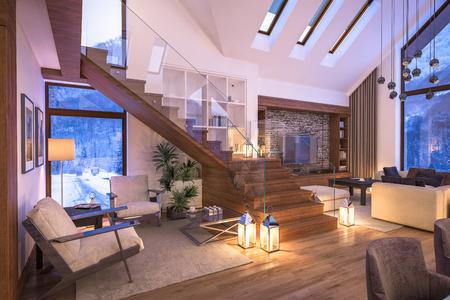 3D-weergave van gezellige woonkamer op koude winter 's nachts in de bergen,' s avonds interieur van chalet versierd met kaarsen, open haard vult de ruimte met warmte.