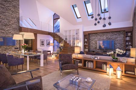 3D rendering di accogliente soggiorno sulla fredda notte d'inverno in montagna, interno sera di villetta decorata con candele, camino riempie la stanza con calore. Archivio Fotografico - 60870290