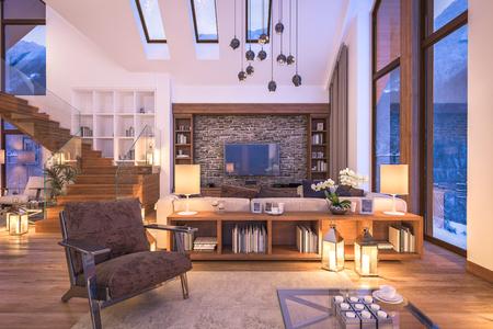 3D rendering di accogliente soggiorno sulla fredda notte d'inverno in montagna, interno sera di villetta decorata con candele, camino riempie la stanza con calore. Archivio Fotografico - 60870312