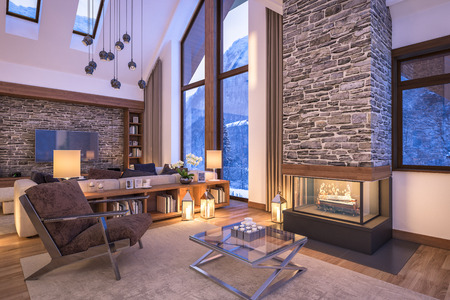 3 D でレンダリングを居心地の良いリビング ルームの寒い冬の夜、山中夜のキャンドルで飾られたシャレーのインテリア暖炉は暖かさと部屋を満たし