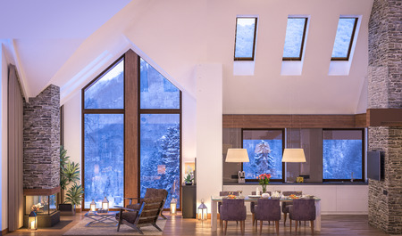 3D rendering di accogliente soggiorno sulla fredda notte d'inverno in montagna, interno sera di villetta decorata con candele, camino riempie la stanza con calore. Archivio Fotografico - 63516423