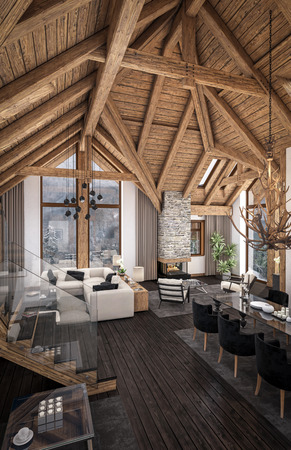 rafter: 3D rendering of living room, kitchen and dining room and stair are combined in one area of chalet. Rafter beam system decorates the interior.