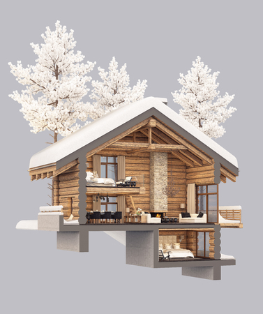 3d rendering section of cozy chalet in snowy mountain. Isolated on gray. Stock Photo