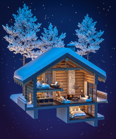 3d rendering section of cozy chalet in snowy mountain. Night sky with many stars background.