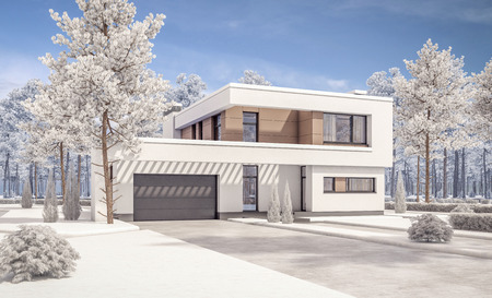 house for sale: 3d rendering of modern cozy house with garage for sale or rent with many snow on lown. Clear sunny winter day with cloudless sky.