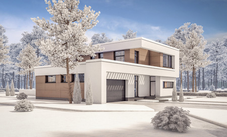 landscape architecture: 3d rendering of modern cozy house with garage for sale or rent with many snow on lown. Clear sunny winter day with cloudless sky.