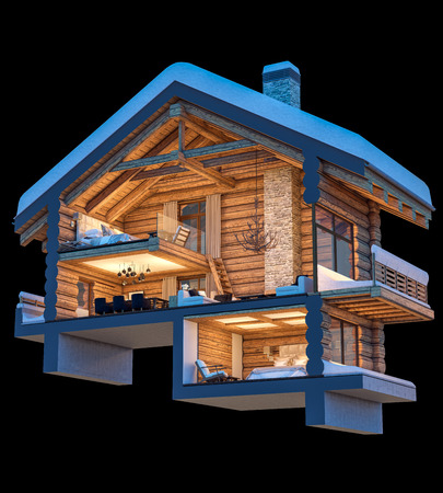 3d rendering section of cozy chalet in snowy mountain. Isolated on black.