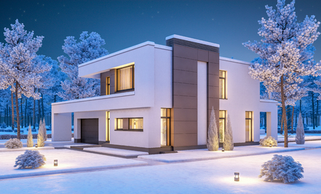 house for sale: 3d rendering of modern cozy house with garage for sale or rent with many snow on lawn. Clear winter night with stars on the sky. Cozy warm light from window Stock Photo
