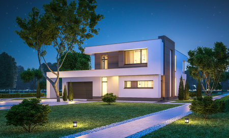 3d rendering of modern cozy house with garage for sale or rent with many grass on lawn. Clear summer night with stars on the sky. Cozy warm light from window Foto de archivo
