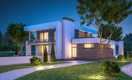 3D-rendering van de moderne gezellig huis met garage te koop of te huur met veel gras op het gazon. Duidelijke zomer nacht met sterren aan de hemel. Gezellige warme licht van venster
