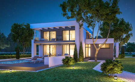 3d rendering of modern cozy house with garage for sale or rent with many grass on lawn. Clear summer night with stars on the sky. Cozy warm light from window Archivio Fotografico