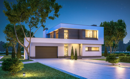 3d rendering of modern cozy house with garage for sale or rent with many grass on lawn. Clear summer night with stars on the sky. Cozy warm light from window Banco de Imagens
