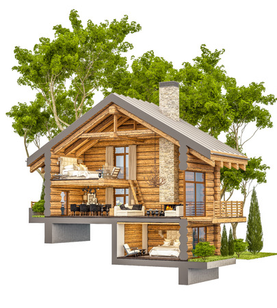 3d rendering section of cozy chalet in spring forest. Isolated on white.