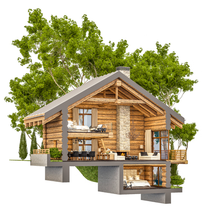 chalet: 3d rendering section of cozy chalet in spring forest. Isolated on white.