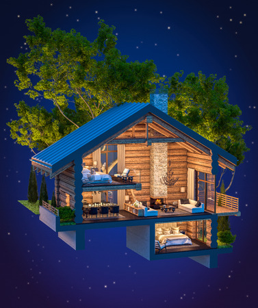 3d rendering section of cozy chalet in spring forest against the backdrop of night sky with many stars.