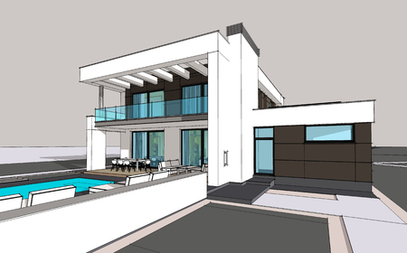 suburban neighborhood: 3d rendering of modern cozy house with garage for sale or rent
