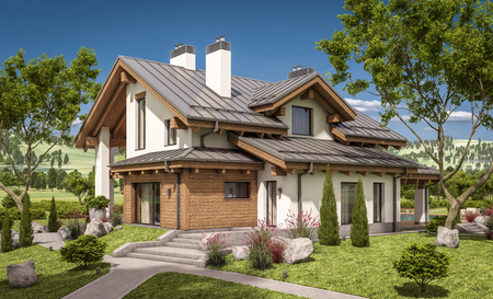 house for sale: 3d rendering of modern cozy house in chalet style with garage for sale or rent with large garden and lawn. Clear sunny summer day with cloudless sky.