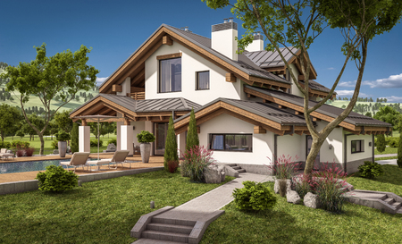 suburban neighborhood: 3d rendering of modern cozy house in chalet style with garage for sale or rent with large garden and lawn. Clear sunny summer day with cloudless sky.