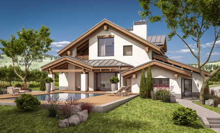 cloudless: 3d rendering of modern cozy house in chalet style with garage for sale or rent with large garden and lawn. Clear sunny summer day with cloudless sky.