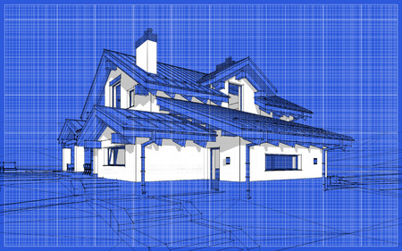 3D render sketch of modern cozy house in chalet style for sale or rent. Aqua crayon style with blue graph grid paper background