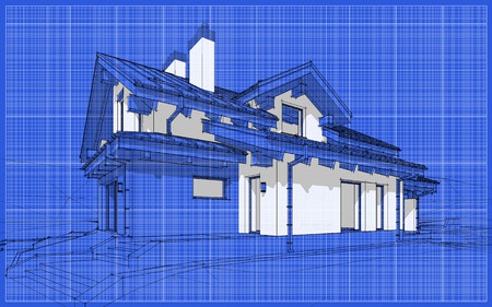 garage on house: 3D render sketch of modern cozy house in chalet style for sale or rent. Aqua crayon style with blue graph grid paper background
