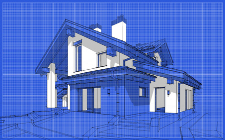 chalet: 3D render sketch of modern cozy house in chalet style for sale or rent. Aqua crayon style with blue graph grid paper background