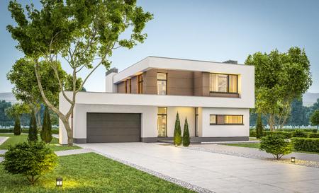 판매를위한 차고 또는 잔디밭에 많은 잔디와 함께 현대 아늑한 집의 3d 렌더링. 부드러운 하늘과 여름 evenig를 지 웁니다. 창에서 아늑한 따뜻한 빛