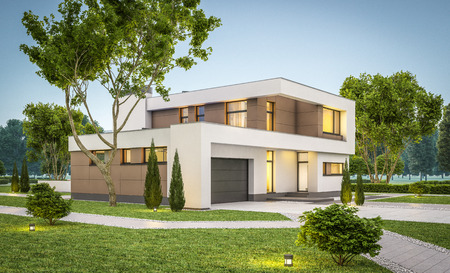 3d rendering of modern cozy house with garage for sale or rent with many grass on lawn. Clear summer evenig with soft sky. Cozy warm light from window