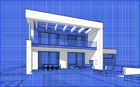 chalet: 3D render sketch of modern cozy house for sale or rent. Sketch style with blue graph grid paper background Stock Photo