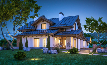 garage on house: 3d rendering of modern cozy house in chalet style with garage for sale or rent with many grass on lawn. Clear summer night with stars on the sky. Cozy warm light from window
