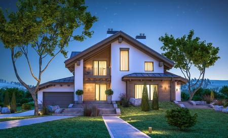3D-weergave van een modern gezellig huis in chaletstijl met garage te koop of te huur met veel gras op het gazon. Heldere zomeravond met sterren in de lucht. Gezellig warm licht van het raam