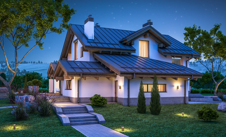 chalet: 3d rendering of modern cozy house in chalet style with garage for sale or rent with many grass on lawn. Clear summer night with stars on the sky. Cozy warm light from window