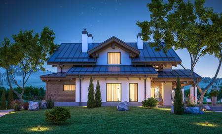 판매를위한 차고 또는 잔디밭에 많은 잔디와 임대료와 샬레 스타일에서 현대 아늑한 집의 3d 렌더링. 맑은 여름 밤 하늘에 별. 창에서 아늑한 따뜻한 빛