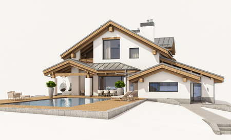 suburban: 3d rendering of modern cozy house in chalet style with garage for sale or rent. Isolated on white.
