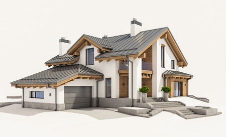 chalet: 3d rendering of modern cozy house in chalet style with garage for sale or rent. Isolated on white.