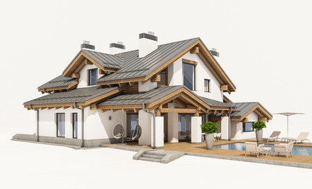 in the suburbs: 3d rendering of modern cozy house in chalet style with garage for sale or rent. Isolated on white.
