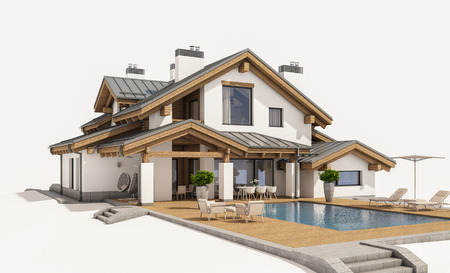 windows and doors: 3d rendering of modern cozy house in chalet style with garage for sale or rent. Isolated on white.